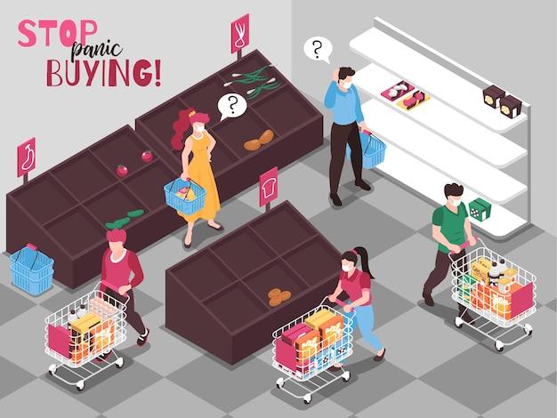 Ilustrações isométricas do comportamento de compra de alimentos do pânico do coronavírus w