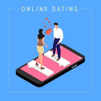Ilustrações isométricas modernas elaboram aplicativo de namoro online por meio de bate-papo móvel manual