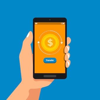 Ilustrações mão segurar conceito smartphone pagamento bancário móvel e transferência de dinheiro online