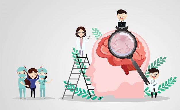 Ilustrações médicas científicas da ilustração de acidente vascular cerebral do cérebro humano