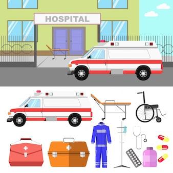Ilustrações médicas com carro de hospital e ambulância.