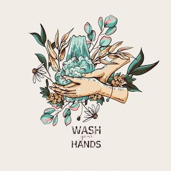 Ilustrações médicas de saúde vintage, lavagem das mãos, proteção contra vírus