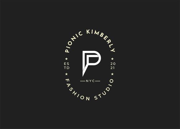 Ilustrações minimalistas do modelo de design de logotipo com letra p inicial