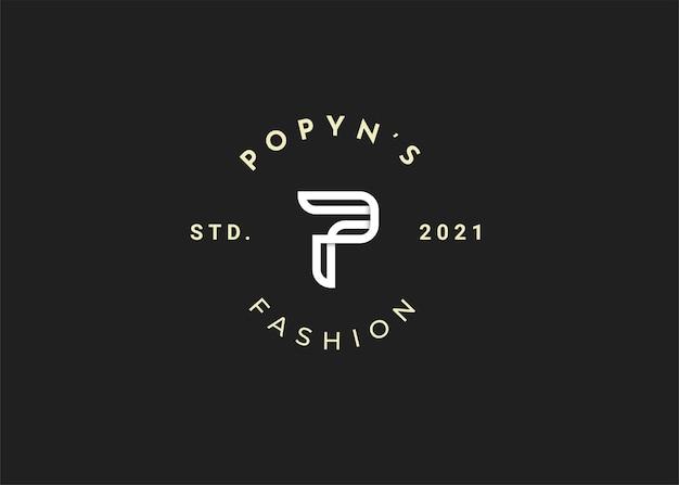 Ilustrações modernas de modelo de design de logotipo com letra p inicial