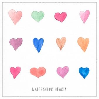 Ilustrações pintadas à mão de corações de aguarela