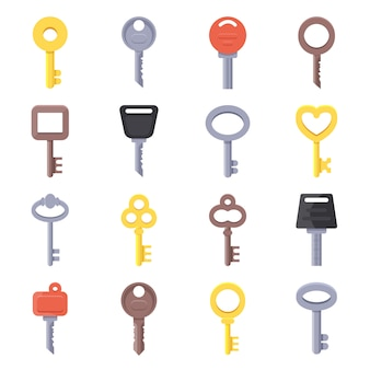 Ilustrações planas de diferentes tipos de chaves
