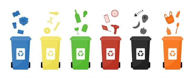Ilustrações planas de latas de lixo.