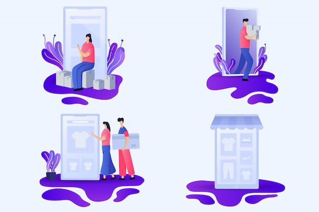 Ilustrações planas de loja online