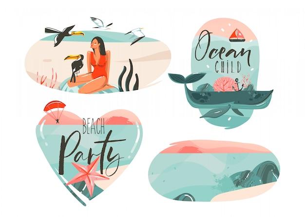 Ilustrações planas de mão desenhada cartoon gráfico horário de verão assinar coleção definida com menina, baleia, horizonte por do sol, pássaros tucanos e citações de tipografia isoladas