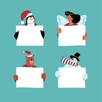 Ilustrações planas de personagens de natal segurando uma faixa em branco