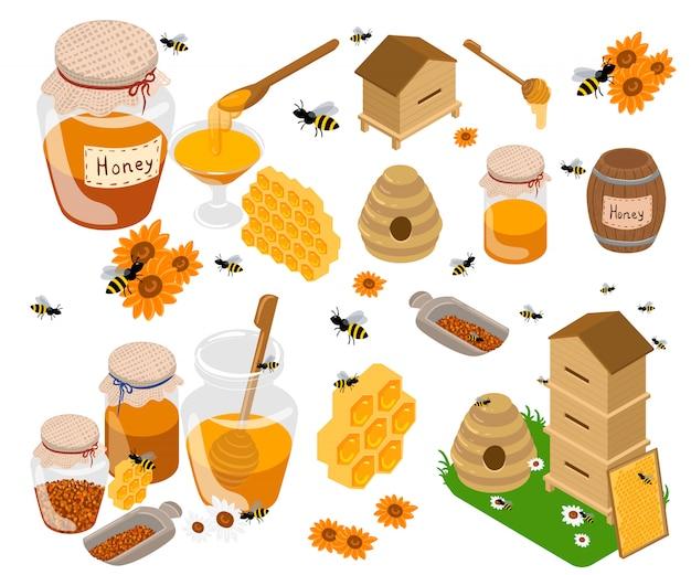 Ilustrações planas de produtos de mel. frascos e outros produtos de mel em cima da mesa. orgânico e natural. bancos, abelhas, favos de mel, colméias, girassol isolado no branco