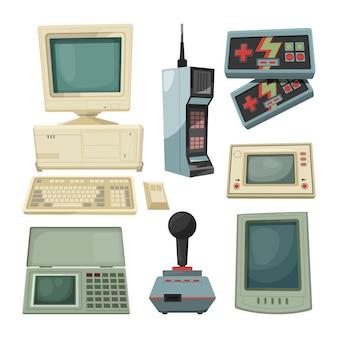 Ilustrações retrô de gadgets de técnicos. imagens de vetor