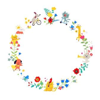 Ilustrações sob a forma de uma coroa de flores redonda.