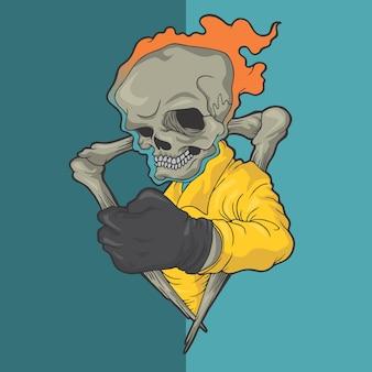 Ilustrações tiradas mão do projeto do vetor do estilo do crânio flamejante.