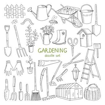 Ilustrações tiradas mão do vetor da jardinagem.