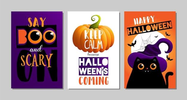 Ilustrações vetoriais com designs de pôster de halloween de gato preto
