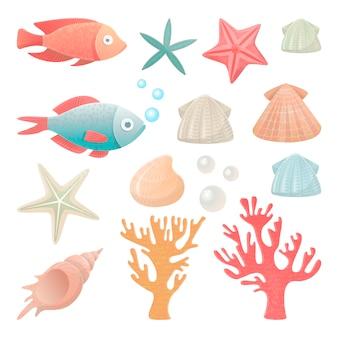 Ilustrações vetoriais conjunto de habitantes do mar