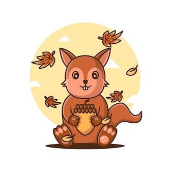 Ilustrações vetoriais de bonito dos desenhos animados esquilo com amendoim no outono. conceito de ícone de outono