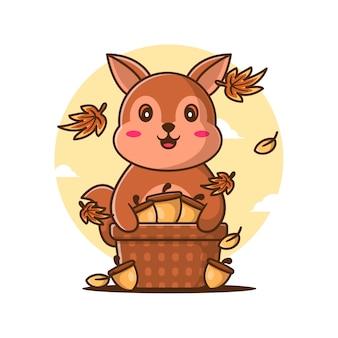Ilustrações vetoriais de bonito dos desenhos animados esquilo com cesta de amendoim no outono. conceito de ícone de dia de outono