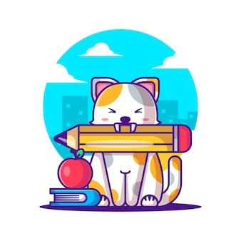 Ilustrações vetoriais de bonito dos desenhos animados gato com artigos de papelaria. conceito de ícone de volta às aulas