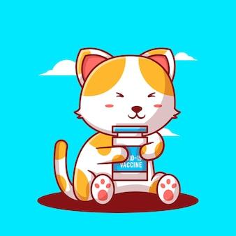 Ilustrações vetoriais de bonito dos desenhos animados gato com frasco de vacina. conceito de ícone de medicamento e vacinação