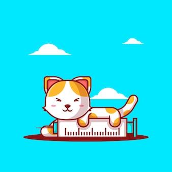 Ilustrações vetoriais de bonito dos desenhos animados gato com injeção de vacina. conceito de ícone de medicamento e vacinação