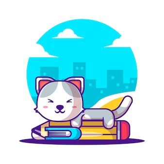 Ilustrações vetoriais de bonito dos desenhos animados gato com lápis e livro. conceito de ícone de volta às aulas
