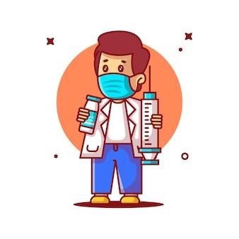 Ilustrações vetoriais de bonito dos desenhos animados médico segurando o equipamento de vacina. conceito de ícone de medicamento e vacinação