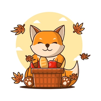 Ilustrações vetoriais de bonito dos desenhos animados raposa com cesta de maçã no outono. conceito de ícone de outono