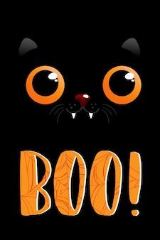 Ilustrações vetoriais de cartão de halloween com letras e papel de parede de banner de venda de gato preto