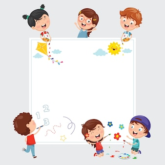 Ilustrações vetoriais de crianças pintando no banner branco