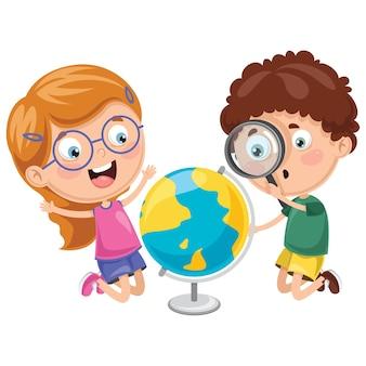Ilustrações vetoriais de crianças tendo aula de geografia