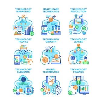 Ilustrações vetoriais de ícones de conjunto de tecnologia global. tecnologia e crescimento globais finanças, pessoas, máquina e revolução de tratamento de cuidados de saúde, marketing e ilustrações a cores líder