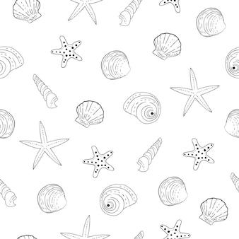 Ilustrações vetoriais de oceano subaquático shell preto e branco padrão sem emenda.