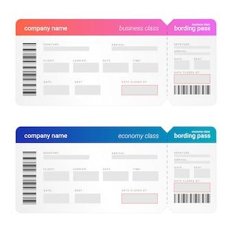 Ilustrações vetoriais de passagem de modelo de bilhete de bordo