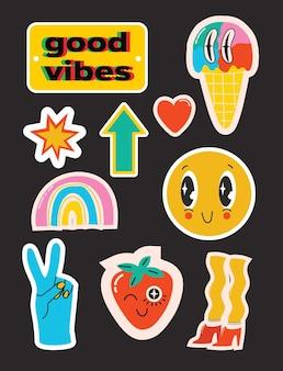 Ilustrações vetoriais de um conjunto de vários patches, selos ou adesivos