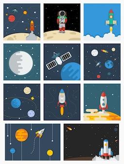 Ilustrações vetoriais diversas do espaço exterior conjunto