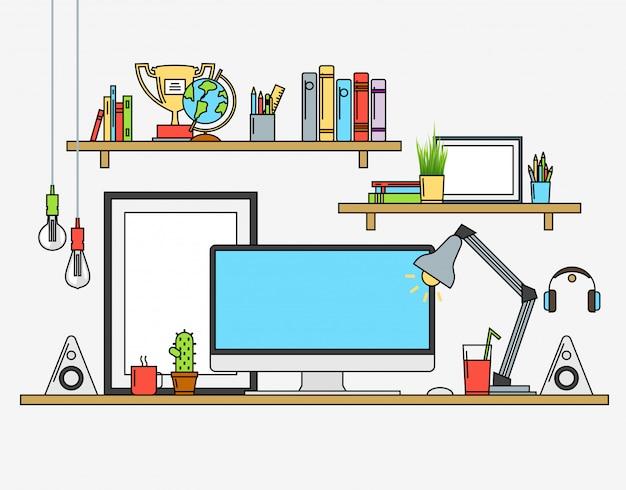 Ilustrações vetoriais do espaço de trabalho moderno