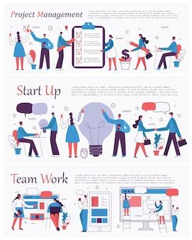 Ilustrações vetoriais do projeto de educação on-line de pessoas de negócios de conceito de escritório gerenciar ...
