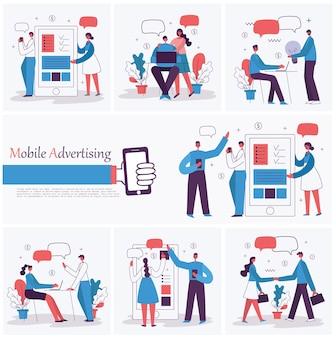 Ilustrações vetoriais dos empresários de conceito de escritório no projeto e tempo de comércio eletrônico de estilo simples.