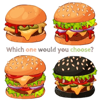 Ilustrações vetoriais sobre o tema de fast-food: conjunto de diferentes tipos de hambúrgueres.