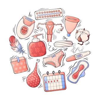 Ilustrações vetoriais sobre o tema de higiene feminina.