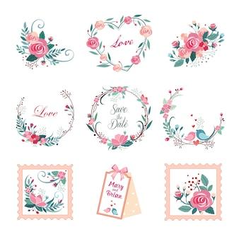 Ilustrações vintage florais para cartões e decoração.