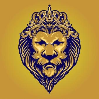 Ilustrações vintage gold lion king com ornamento de coroa