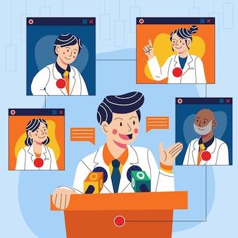 Ilustrada conferência médica on-line de desenhos animados
