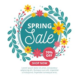 Ilustrada promoção de venda de primavera em design plano