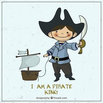 Ilustrado bonito do pirata