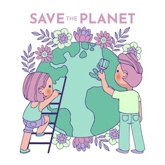 Ilustrado com salvar o conceito de planeta