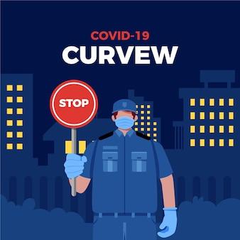 Ilustrado conceito de restrições de toque de recolher por coronavírus