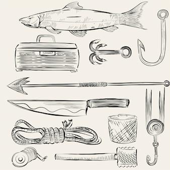Ilustrado conjunto de equipamentos de pesca